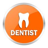 歯科医のオレンジ色の光沢のあるアイコン — ストック写真