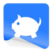 Piggy bank blue sticker icon — Stock Photo