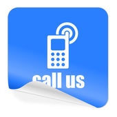Call us blue sticker icon — Stock Photo