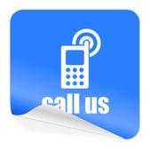 Call us blue sticker icon — Stock Photo
