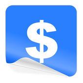 Dollar blue sticker icon — Stock Photo