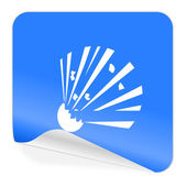 Bomb blue sticker icon — Stock Photo