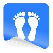 Foot blue sticker icon — Stock Photo