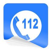 Emergency call blue sticker icon — Stock Photo