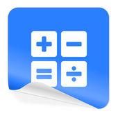 Calculator blue sticker icon — Stock Photo