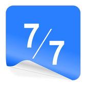 7 per 7 blue sticker icon — Stock Photo