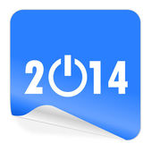 ícone de etiqueta azul ano 2014 — Fotografia Stock