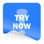Try now blue sticker icon — Stock Photo