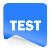 Test blue sticker icon — Stock Photo