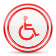 Wheelchair red white glossy web icon — Stock Photo #46772763