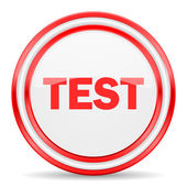Test red white glossy web icon — Stock Photo