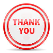Thank you red white glossy web icon — Stock Photo