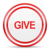 Darle al icono rojo blanco brillante web — Foto de Stock