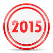 К 2015 году новый значок красный белый глянцевый web — Стоковое фото