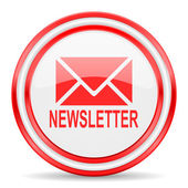 Newsletter red white glossy web icon — Stock Photo