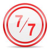 7 per 7 red white glossy web icon — Stock Photo