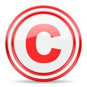 Copyright red white glossy web icon — Stock Photo