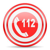 Emergency call red white glossy web icon — Stock Photo