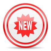 New red white glossy web icon — Stock Photo