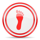 Foot red white glossy web icon — Stock Photo