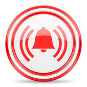 Alarm red white glossy web icon — Stock Photo