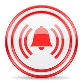 Alarm red white glossy web icon — ストック写真