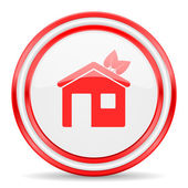 House red white glossy web icon — Stock Photo