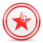 Star red white glossy web icon — Stock Photo