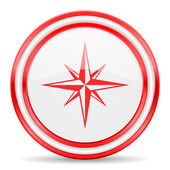 Compass red white glossy web icon — Stock Photo