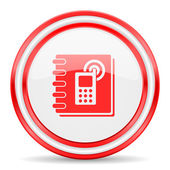 Phonebook red white glossy web icon — Stock Photo