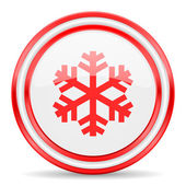 Snow red white glossy web icon — Stock Photo