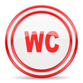 Toilet red white glossy web icon — Foto Stock