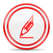 Pencil red white glossy web icon — Stockfoto
