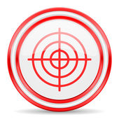 Target red white glossy web icon — Stock Photo