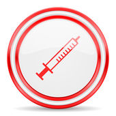 Medicine red white glossy web icon — Stock Photo
