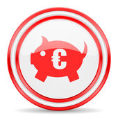 Piggy bank red white glossy web icon — Stock Photo