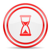 Time red white glossy web icon — Stock Photo