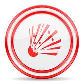 Bomb red white glossy web icon — Stock Photo