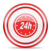 24h red white glossy web icon — Stockfoto