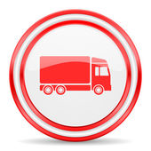 Delivery red white glossy web icon — 图库照片