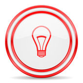 Bulb red white glossy web icon — Stock Photo