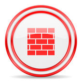 Firewall red white glossy web icon — Stock Photo