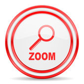 Zoom red white glossy web icon — Stock Photo