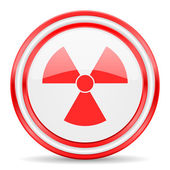 Radiation red white glossy web icon — Stock Photo