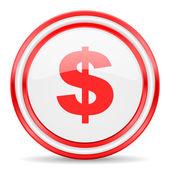 Иконка Доллар красный белый глянцевый web — Стоковое фото