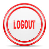 Logout red white glossy web icon — Stock Photo