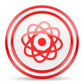 Atom red white glossy web icon — Stock Photo