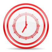 Time red white glossy web icon — 图库照片