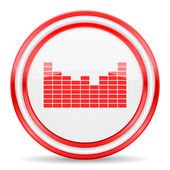 Ícone de som vermelho branco lustroso web — Fotografia Stock
