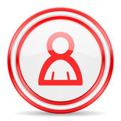 Person red white glossy web icon — Stock Photo